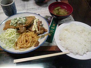 サーモンフライと生姜焼き